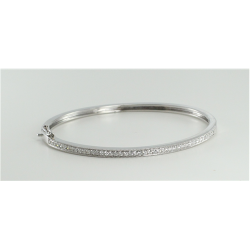 18k White Gold Round Cut Diamond Bangle Bracelet (0.75 Ct, G Color, VS1 Clarity)