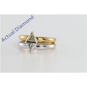 18k Two Tone Gold Triangle Cut Two Stone Diamond Engagement Ring (Natural light Fancy Yellow & White Diamonds, SI Clarity)