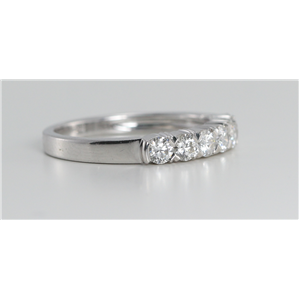 18k White Gold Round Cut Diamond Multi Stone Wedding Band (0.66 Ct, G Color, VS Clarity)