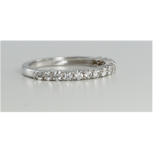 18k White Gold Round Cut Half-Way Multi Stone Diamond Wedding Band (0.55 Ct, G Color, VS Clarity)