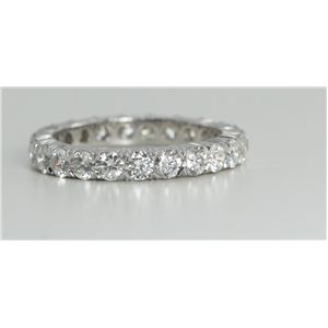 18k White Gold Round Cut Multi Stone Diamond Eternity Band (2.16 Ct, G Color, VS Clarity)