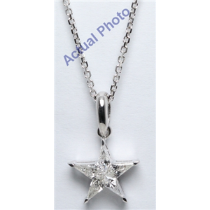 18k White Gold Kite Cut Invisible Setting Diamond Star Pendant (0.31 Ct, H Color, VS Clarity)