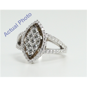 18k White Gold Round Cut Invisible Setting Two-Shank Marquise Shaped Diamond Ring (1.3 Ct, G Color, VS1 Clarity)