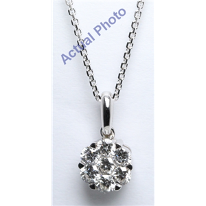 18k White Gold Round Cut Invisible Setting Diamond Pendant (0.52 Ct, G Color, VS Clarity)