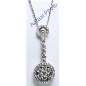 18k White Gold Round Cut Invisible Setting Diamond Pendant (1.42 Ct, G Color, VS Clarity)