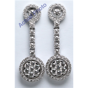 18k White Gold Round Cut Invisible Setting Diamond Dangle Earrings (1.71 Ct, G Color, VS Clarity)