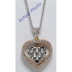 18k Rose & White Gold Round Cut Invisible Setting Diamond Heart Pendant (0.75 Ct, G Color, VS1 Clarity)