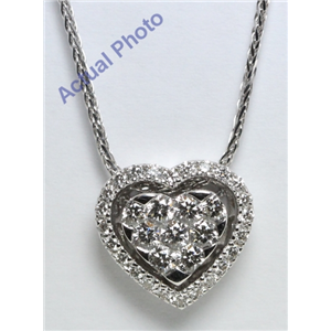 18k White Gold Round Cut Invisible Setting Diamond Heart Pendant (0.72 Ct, G Color, VS1 Clarity)