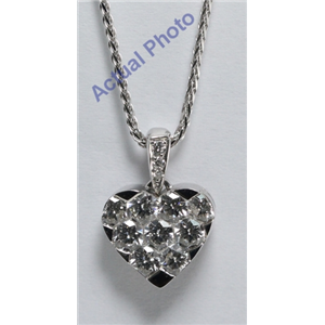 18k White Gold Round Cut Invisible Setting Diamond Heart Pendant (1.06 Ct, G Color, VVS Clarity)