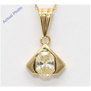 18k Yellow Gold Radiant Diamond Vintage Prongs Setting Chain Link Pendant (0.5 Ct Yellow VS1 Clarity)