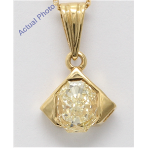 18k Yellow Gold Radiant Diamond Vintage Prongs Setting Chain Link Pendant (0.54 Ct Yellow VS1 Clarity)
