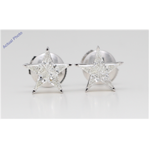 18k White Gold Kite Invisibly Set Five pointed pentangle star diamond earrings with alpha back(0.72ct, I, VS)