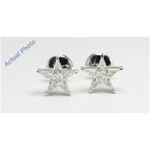 18k White Gold Kite Invisibly Set Five pointed pentangle star diamond earrings with alpha back(0.83ct, G, VS)