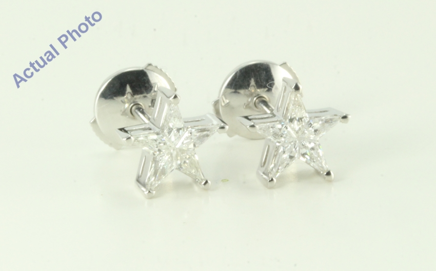 18k White Gold Kite Five Pointed Pentangle Star Diamond Earrings With Alpha Back 0 39ct G Vs Si1