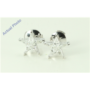 18k White Gold Kite Invisibly Set Five pointed pentangle star diamond earrings with alpha back(0.56ct, G, vs)