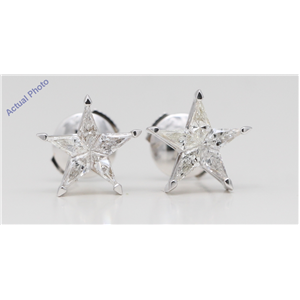 18k White Gold Kite Invisibly Set Five pointed pentangle star diamond earrings with alpha back(0.56ct, H, si3)