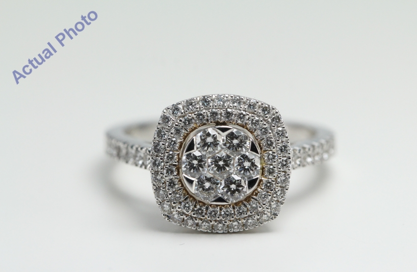 18k White Gold Round Six stone flower invisible setting in square ...