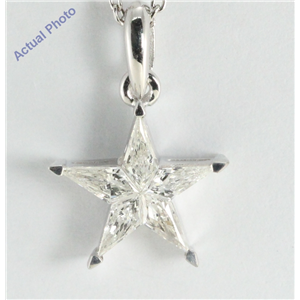 18k White Gold Kite Cut Diamond Invisible Setting Star Pendant (0.38 Ct, H Color, si2 Clarity)