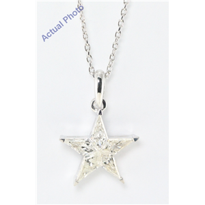 18k White Gold Kite Cut Diamond Invisible Setting Star Pendant (0.71 Ct, I Color, si2 Clarity)