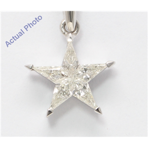 18k White Gold Kite Diamond Multi-Stone Star Shape Chain Link Pendant (0.35 Ct H SI1/2 Clarity)