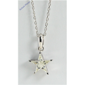 18k White Gold Kite Cut Diamond Invisible Setting Star Pendant (0.27 Ct, Jk Color, si Clarity)