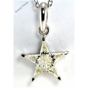 18k White Gold Kite Cut Diamond Invisible Setting Star Pendant (0.37 Ct, Jk Color, vs Clarity)