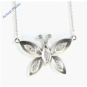 18k White Gold Round Cut Diamond Butterfly Pendant (0.12 Ct, G Color, si2 Clarity)
