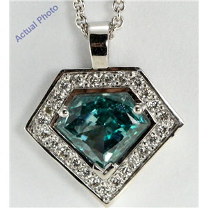18k Gold Round & Shield Cut Diamonds & Diamonds Pendant (Blue(Irradiated) & White Diamonds, Si1 Clarity)