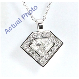 18k White Gold Grace Cut Diamond Shield Diamonds & Round Diamonds Pendant (0.48 Ct, G Color, si Clarity)