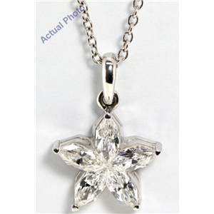 18k White Gold Pear Cut Invisible setting Diamond Flower Pendant (0.96 Ct, G Color, vs Clarity)