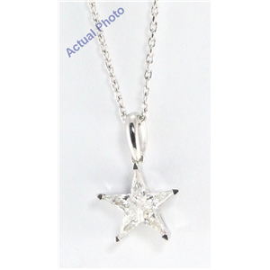 18k White Gold Kite Cut Diamond Invisible Setting Star Pendant (0.32 Ct, G Color, i1 Clarity)