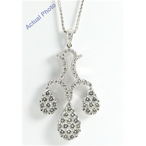 18k White Gold Round Cut Diamond Invisible Setting 3 Pear Shapes Pendant (2.45 Ct, G Color, vs Clarity)