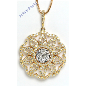 18k Rose and white gold Kite & Round Diamond Invisible Setting in a flower Pendant (1.58 Ct, G , vs )