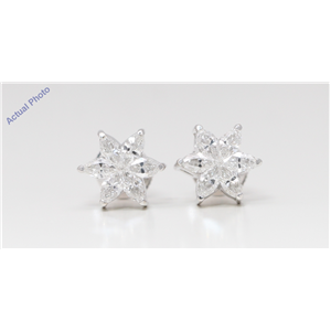 18k White Gold Marquise Diamond Multi-stone Invisibly Set Flower Shape Earrings (1.16 Ct G VS-SI1 Clarity)