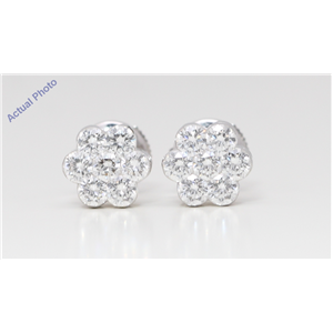 18k White Gold Round Diamond Multi-Stone Invisible Setting Flower Shape Studs (1.45 Ct G VS2-SI1 Clarity)