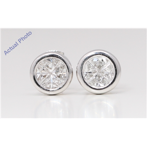 18k White Gold Princess Diamond Multi-Stone Invisible Setting Circle Shape Studs (0.78 Ct H VS Clarity)