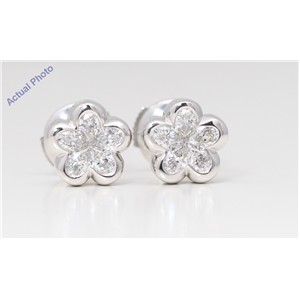 18k White Gold Pear Diamond Multi-Stone Invisible Setting Flower Shape Framed Studs (0.7 Ct H SI Clarity)