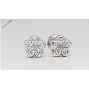 18k White Gold Pear Diamond Multi-Stone Invisibly Set Flower Shape Framed Studs (0.97 Ct H VS-SI1 Clarity)