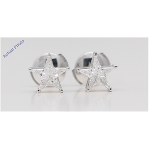 18k White Gold Kite Diamond Multi-Stone Set Star Shape Pentagram Studs (0.31 Ct G SI2 Clarity)