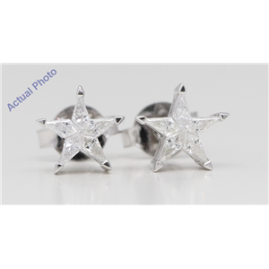 18k White Gold Kite Diamond Invisibly Set Multi-Stone Set Star Shape Pentagram Studs (0.26 Ct G VS Clarity)