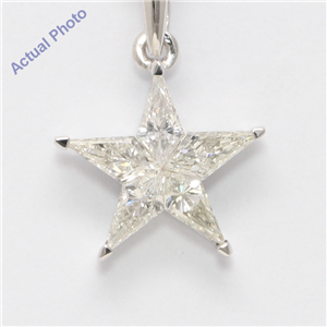 18k White Gold Kite Diamond Multi-Stone Set Star Shape Pentagram Pendant (0.69 Ct H VS2-SI1 Clarity)