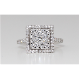 18k White Gold Round Diamond Multi-Stone Pave Cluster Set Framed Square Ring (1.36 Ct G SI2 Clarity)
