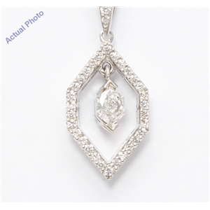 18k White Marquise Diamond Multi-Stone Vintage Prongs Setting & Round Pendant (0.4 Ct G VS2-SI1 Clarity)
