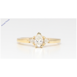 14k Yellow Gold 3 Stone Pear Diamond 3-Stone Prongs Set Marquise & Triangle Ring (0.57 Ct I VS Clarity)