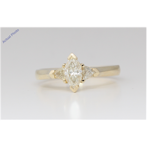 14k Yellow Gold 3 Stone Marquise Diamond 3-Stone Prongs Set & Triangle Ring (0.63 Ct H-I VS Clarity)