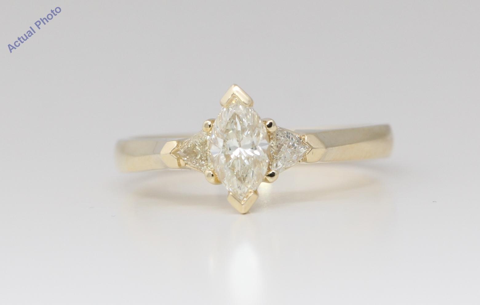 14k Yellow Gold 3 Stone Marquise Diamond 3 Stone Prongs Set Triangle Ring 0 63 Ct