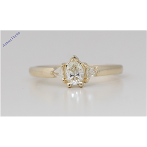 14k Yellow Gold 3 Stone Pear Diamond 3-Stone Prongs Set Marquise & Triangle Ring (0.62 Ct H-I VS Clarity)