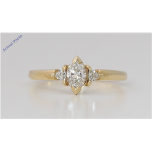 14k Yellow Gold 3 Stone Marquise Diamond 3-Stone Prongs Set & Triangle Ring (0.5 Ct H-I VS Clarity)