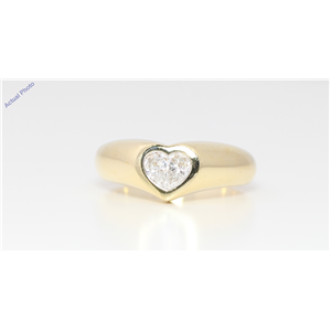 18k Yellow Gold Pear Diamond Two-Stone Invisible Setting Heart Shaped Solid Ring (0.42 Ct H SI1/2 Clarity)