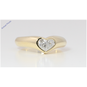 18k Yellow Gold Pear Diamond Two-Stone Invisible Setting Heart Shaped Solid Ring (0.4 Ct H VS Clarity)